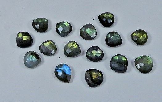 Size 16x22mm Labradorite Green Blue Fire Undrilled Faceted Pear 7 Pieces